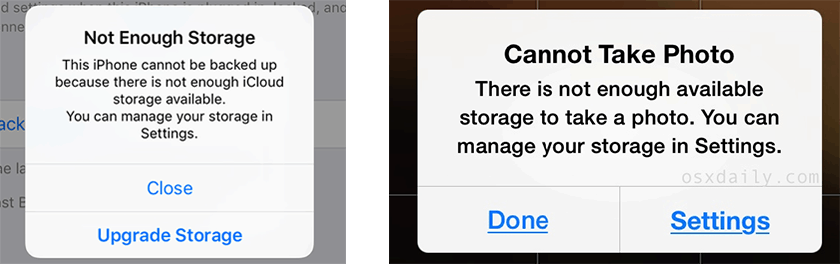 not enough storage